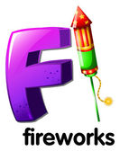 A letter F for fireworks — Stock Vector