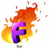 A letter F for fire — Stock Vector
