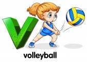 A letter V for volleyball — Stock Vector