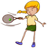 A simple sketch of a female tennis player — Stock Vector