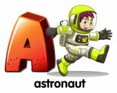 A letter A for astronaut — Vettoriale Stock