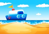A sea with a boat — Stock Vector