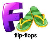 A letter F for flip-flops — Vector de stock
