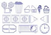 Doodle design der dinge für film-marathon — Stockvektor
