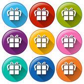 Iconos redondos con regalos — Vector de stock