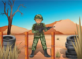 A soldier holding a gun — Stock Vector