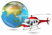 A helicopter and a globe — Stock Vector