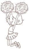 A simple sketch of a girl cheerdancing — Vector de stock