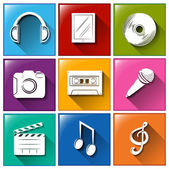 Icons with entertainment gadgets — Stock Vector