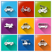 Icons with the different transportations — Stock Vector
