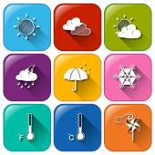 Icons with the different weather conditions — Stock Vector