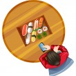 A topview of a girl at the table with sushi — Stock Vector #54022625