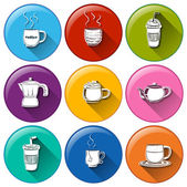 Round icons with coffee and tea — Stock Vector