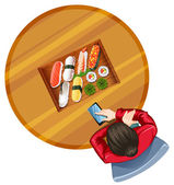 A topview of a girl at the table with sushi — Stock Vector