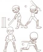 A simple sketch of the men playing cricket — Stock Vector