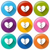 Round buttons with broken hearts — Stock Vector
