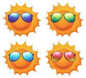Sun with shades — Stock Vector