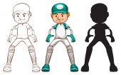 Sketches of a cricket player in different colours — Stock Vector