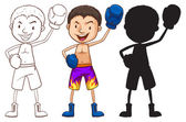 Sketches of a boxer in different colors — Stock Vector