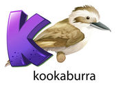 A letter K for kookaburra — Stock Vector