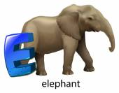 A letter E for elephant — Stock Vector