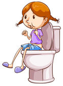 Girl and toilet — Stock Vector
