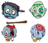 Heads of the zombies — Stock Vector