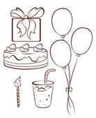 A simple drawing of a birthday celebration — Stock Vector