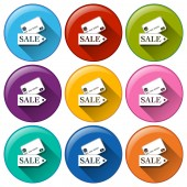 Round buttons with sale cards — Stock Vector