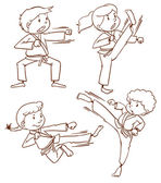 A simple drawing of the people doing martial arts — Vettoriale Stock