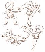 простой рисунок люди делают боевых искусств — Cтоковый вектор