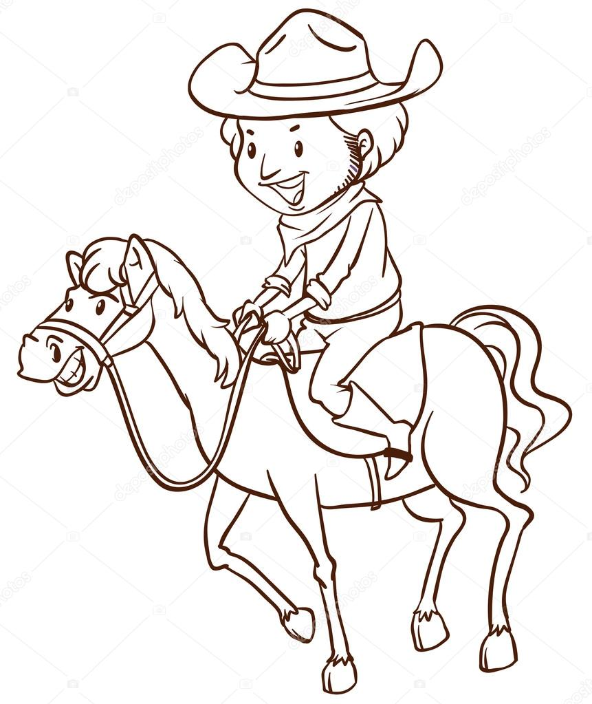 Cowboy drawing for kids