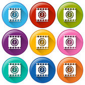 Movie buttons — Stock Vector