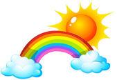 Sun and rainbow — Stock Vector