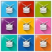 Drum icons — Vetorial Stock