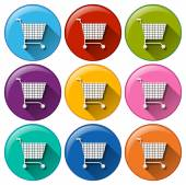 Round buttons with grocery shopping carts — Stock Vector