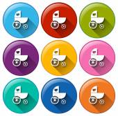 Round buttons with a baby stroller — Stock Vector