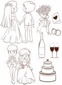 A plain sketch of a wedding ceremony — Stock Vector