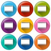 Round buttons with movie films — Stock Vector
