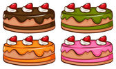A simple coloured sketch of the cakes — Stock Vector