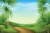 A beautiful landscape with palm plants — Stockvector