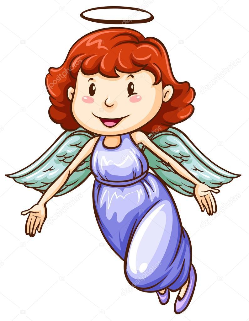 Une simple couleur de dessin d 39 un ange image vectorielle - Dessin d ange ...