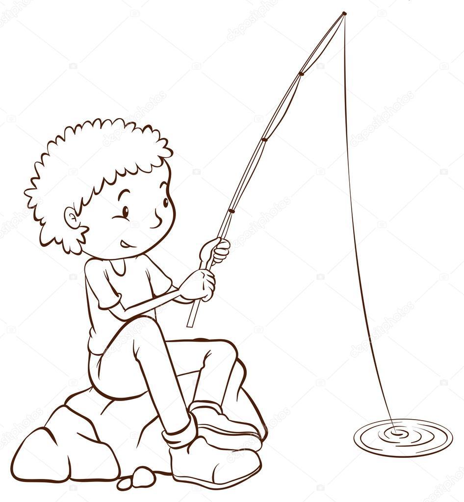 раскраски мальчиков на рыбалке