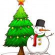 A simple sketch of a snowman beside the Christmas tree — Stock Vector #55654417