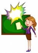 A teacher with an empty callout — Stock Vector