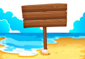An empty wooden signboard at the sea — Stock Vector