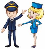 A simple drawing of a pilot and a stewardess — Stock Vector