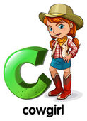 A letter C for cowgirl — Stock Vector