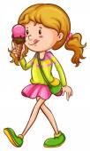 цветной эскиз девочки, едящей — Cтоковый вектор