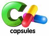 A letter C for capsules — Stok Vektör